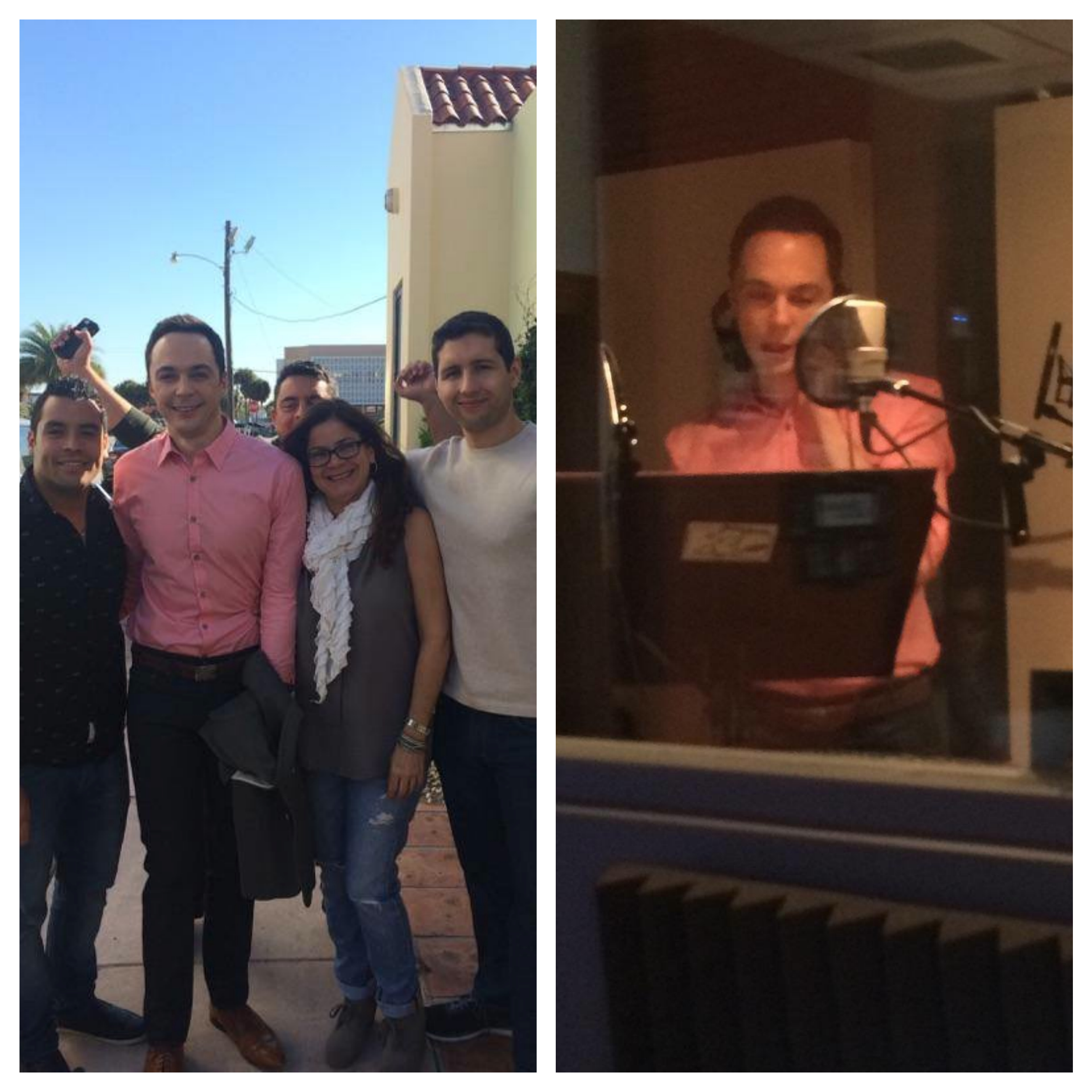 Jim Parsons recording commercial spots for his movie HOME